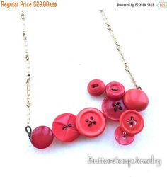 Summer Sale Red Arrow Vintage Button Statement Necklace OOAK and Unique by buttonsoupjewelry on Etsy