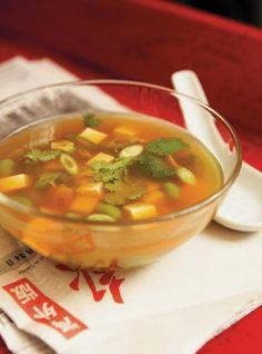 Ricardo's Recipe : Soybean and Tofu Soup Tofu Soup, Ricardo Recipe, Sambal Oelek, Soup Beans, Oriental Food, Oriental Recipes, Seitan, Coriander, Cilantro
