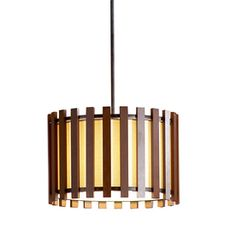 allen   roth 17.75-in W Pecan Standard Pendant Light with Fabric Shade