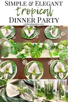 Party Table Centerpieces, Elegant Centerpieces, Table Decorations, Craft Party, Party Party, Party Ideas, Caribbean Theme Party, Dinner Table Set Up, Tropical Desserts