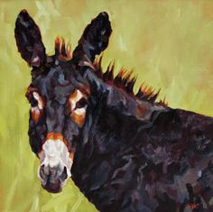"""Daily Painters Abstract Gallery: Colorful Contemporary Animal Art,Wild Burro Painting, Donkey """"Apple Jack"""" by Contemporary Animal Artist Patricia A. Apple Painting, Painting & Drawing, Burritos, Daily Painters, Thing 1, Watercolor Animals, Watercolor Pencils, Equine Art, Animal Paintings"""
