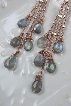 Labradorite Earrings / Rose Gold Earrings / by AlisonStorryJewelry, $115.00