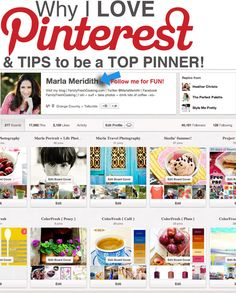 Why I Love Pinterest & How to Be a TOP Pinner! on FamilyFreshCooking.com Follow me here: http://pinterest.com/marlameridith/