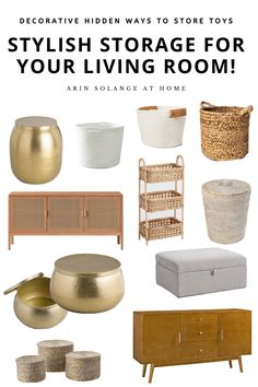 Home Decor Kitchen This post has some amazing ideas to store toys (and blankets and other small items) in your living room without ruining your decor! Great for small spaces. The best storage containers including baskets, ottomans, and more. Living Room Toy Storage, Kid Toy Storage, Lego Storage, Spice Storage, Storage Ideas, Cheap Home Decor, Home Decor Items, Storage Ottoman Coffee Table, Toy Organization