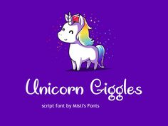 Unicorn Giggles font by Misti's Fonts  http://www.fontriver.com/font/unicorn_giggles/  #script #fonts #design #webdesign #typography #type #lettering #ttf #font #otf #typeface #artwork #unicorn