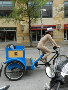 Naked pedi cab driver at SXSW