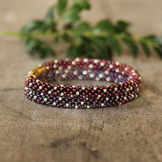 Double crochet rope purple bracelet shiny seed by Naryajewelry