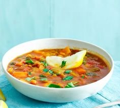 This is a healthy vegetarian version of the classic Moroccan soup with plenty of cumin, turmeric and cinnamon, each offering different health benefits, plus it's low in fat and calories too