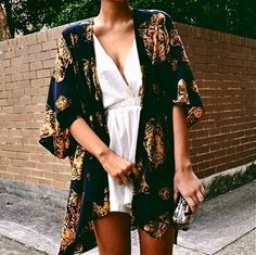 Textured kimono and white silk dress. Relaxed nighttime glam.
