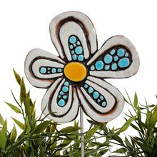 Ceramic flower garden art - dots - white