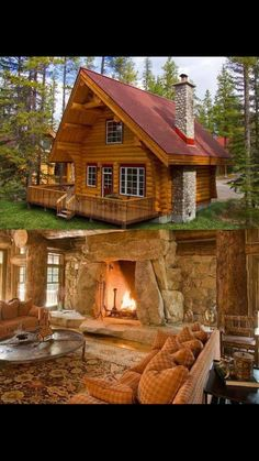 Lake House Plans, Cottage House Plans, New House Plans, Dream House Plans, Small Log Cabin, Log Cabin Homes, Casas Country, Cabin Chic, Pole Barn Homes