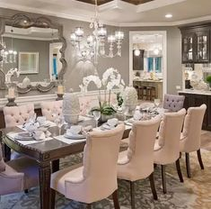 Wonderful Elegant Dining Room Design Ideas 36 image is part of 90 Wonderful Elegant Dining Room Design and Decorations Ideas gallery, you can read and see another amazing image 90 Wonderful Elegant Dining Room Design and Decorations Ideas on website Elegant Dining Room, Luxury Dining Room, Beautiful Dining Rooms, Dining Room Design, Dining Room Table, Dining Room With Bar, Formal Dining Rooms, Mirrors In Dining Room, Beige Dining Room