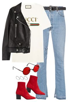 """Sin título #1308"" by osnapitzvic ❤ liked on Polyvore featuring RE/DONE, Yves Saint Laurent, Gucci, MANGO, ASOS and Acne Studios"