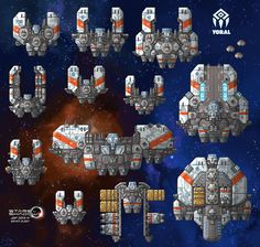 "A batch of Gremak ship assets for the Stars in Shadow game project, in both ""Imperial"" and ""Marauder"" color schemes. Gremak warships can be observed in two very distinct color schemes: the ivo..."