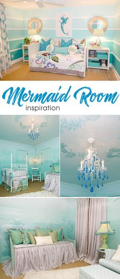 Mermaid-Inspired kids' bedroom design home decor bedroom bedroom decorating ideas bedroom decoration bedroom design bedroom ideas design girls bedroom girls Teenage Girl Bedrooms, Little Girl Rooms, Girls Bedroom, Sea Bedrooms, Little Mermaid Room, Mermaid Girls Rooms, Kids Bedroom Paint, Diy Bedroom, Room Girls