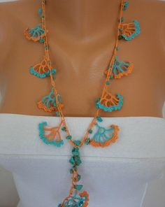 "Crocheted Necklace oya flower with semiprecious stones - Flower by ""Fatwoman"" on Etsy...great colors and design"
