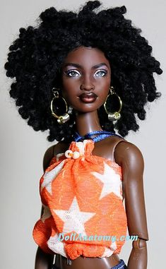 """Makeda - OOAK Mbili Barbie repaint {reminds me of actress Sara Martins--Camille Borday from """"Death in Paradise""""} African Dolls, African American Dolls, Afro, Beautiful Barbie Dolls, Pretty Dolls, Fashion Royalty Dolls, Fashion Dolls, Leelah, Diva Dolls"""