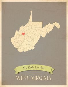 Custom WV print -- I'd love to have one with a heart over home and a green M over Huntington