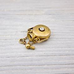 Antique Gold Diamond Perfume Bottle Pendant