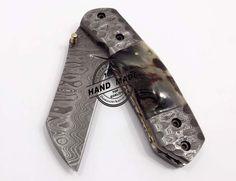 Custom Handmade Damascus Steel Hunting Folding Knife Best Pocket Knife With Ram Horn Handle Leather Sheaths 1304