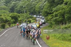 #toj2018 Members of Kinan Cyclin Team, with the Race Leader Spanish rider Marcos Fernandez Garcia, leads the peloton during Izu stage, 120.8km on Izu-Japan Cycle Sports Center Road Circuit, the seventh stage of Tour of Japan 2018.  On Saturday, May 26, 2018, in Izu, Shizuoka Prefecture, Japan. (Photo by Artur Widak/NurPhoto via Getty Images)