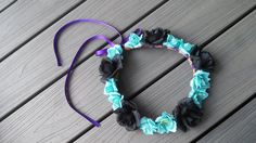 black rose Flower Crown Headband Head Band teal Hippie renaissance fairy rave edm edc plur costume purple blue wreath