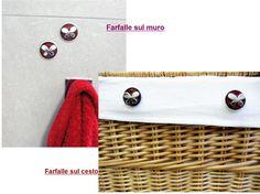 Riciclo di capsule di caffè - In bagno : due farfalle sono su un cesto (tenute in loco da calamite) e due sono sul muro (ancorate con il biadesivo)- possono servire per mascherare buchi nelle piastrelle o macchie su rivestimenti in stoffa - fatte con capsule Nespresso