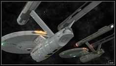 Constitution Mk I class starships - meeting of the minds. New Star Trek Movie, Star Trek Tv Series, Star Trek 1, Star Trek Movies, Star Trek Ships, Star Pics, Star Pictures, Star Trek 50th Anniversary, Uss Lexington