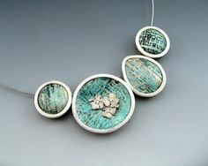 Blue Batik  - polymer clay framed in sterling silver with flower accent by Stonehouse Studio
