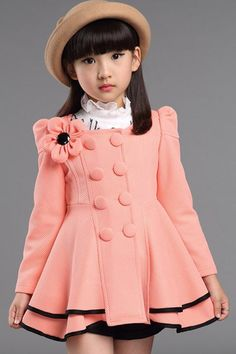 Stylish Double-Breasted Solid Color Flower Embellished Long Sleeve Girl's Coat