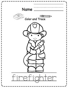 fireman coloring pages preschool alphabet | Free Trace and Color printable. Firefighter and fire truck ...