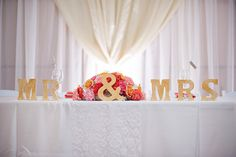 lacombe memorial center wedding; head table decor; coral and tan wedding; as i see it photography
