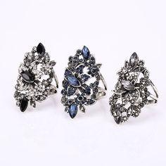 Moda Feminina Elegante Do Vintage Grandes Anéis De Cristal Para As Mulheres Belas Jóias da Moda Retro Bonito Anéis de Casamento Boho Partido Do Punk anéis