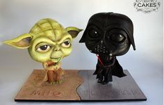 These Star Wars Cakes feature a Chibi Yoda Cake and a Chibi Darth Vader Cake. Star Trek Cake, Star Wars Cupcakes, Yoda Cake, Biscuit, Chibi, Movie Cakes, Pear Cake, Sculpted Cakes, Star Wars Party