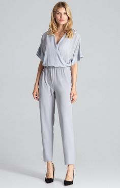 FIGL Jumpsuit in stylisher Wickeloptik Brokat, Gray Color, Spandex, Clothes For Women, Grey, Sweatshirts, Womens Fashion, Sleeves, Tops