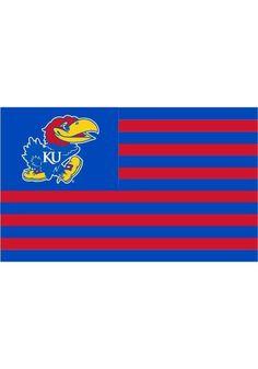 Kansas Jayhawks 3 x 5 Striped Flag W/Grommets NCAA Baseketball Man Cave #KansasJayhawks