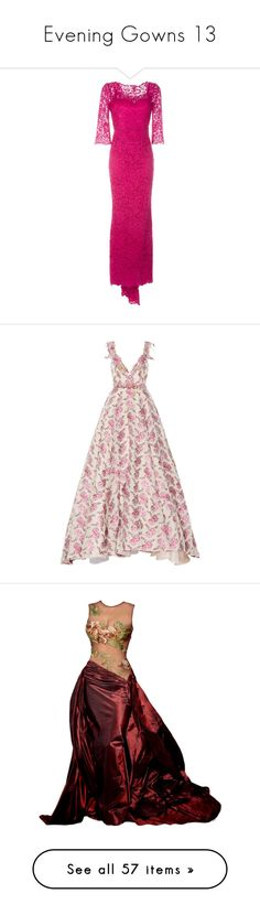 """""""Evening Gowns 13"""" by franceseattle ❤ liked on Polyvore featuring dresses, gowns, lace gown, long floral gown, long dresses, long floral dresses, long lace gown, luisa beccaria, floral and pink gown"""