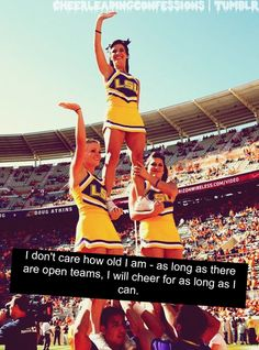 Or parent teams for that matter! Youth Cheerleading, Cheerleading Quotes, Gymnastics, Cheer Coaches, Cheer Stunts, Cheer Funny, Cheer Poses, Cheer Pictures, Sports Memes