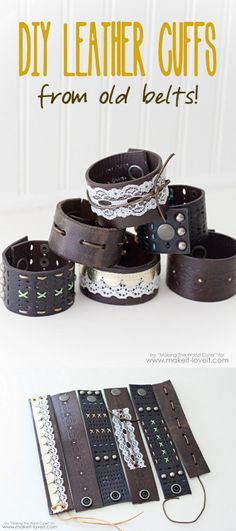 DIY Leather Belt Cuff Tutorial by Making the World Cuter for Make It & Love…