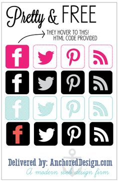 pretty free social media buttons that change looks when you hover with your mouse. (HTML code provided) Social Media Buttons, Social Media Icons, Social Media Graphics, Social Media Tips, Web Design Firm, Blog Design, Online Labels, Free Buttons, Blue Train