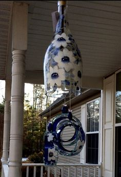 """Wind Chime, """"China"""" , made from recycled wine bottle - fashioned into a Wine-Chime! Recycled Wine Bottles, Wine Bottle Art, Wine Bottle Crafts, Custom Bottles, Blue And White China, Glass Bottles, Glass Beads, Wind Chimes, Glass Art"""
