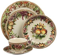 """5-Piece Fruit and Flower Porcelain Dinner Place Setting by Universal Lighting and Decor. $59.91. Fruit and flower pattern transferware.. 10"""" round.. 1"""" high.. Porcelain.. Set of 5.. Add vivid color and life to your dining experience with this set of 5 dinner place settings. This inviting look features colorful a transferware fruit and flowers motif on porcelain.. Save 33%!"""