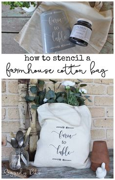 Sharing how to stencil a farmhouse cotton bag. Whether it be with a Vinyl stencil or another stencil here's a few tips on how to stop your paint from bleeding and achieve nice crisp lines | www.raggedy-bits.com | #raggedybits #stencil #farmhouse #cotton #fabric #fusionmineralpaint #DIY #coalblack