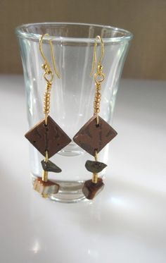 Brown Clay and Wire Wrap Earrings by SarahsArtisanJewelry on Etsy, $15.00