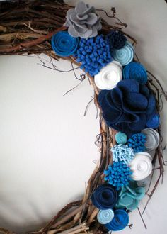 felt flower wreath, winter wreath, holiday wreath, grapevine wreath.