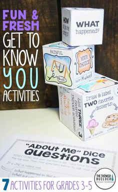 """Fun and fresh get-to-know-you activities for the beginning of the year, including build-your-own """"About Me"""" dice, an easy to make class """"Time Capsule,"""" a """"Truth, Twist, or Total Fake!"""" writing activity, and more! 7 total activities, perfect for back-to-school! Gr. 3-5 ($). Click the image for details, or see the bundle of BOTH my Get-to-Know-You Activity Packs here: https://www.teacherspayteachers.com/Product/Back-to-School-Activities-Get-To-Know-You-BUNDLE-2-Packs-1984515"""