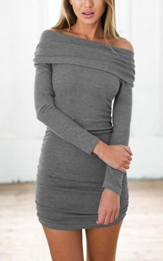 With this grey off-shoulder bodycon dress, it's time to own up your fabulousness.