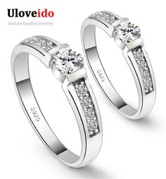 Find More Rings Information about Simple Wedding Rings For Women And Man Decoration Of Silver Plated Simulated Diamond Nuevos Anillos Accessories Uloveido J292,High Quality ring hamburger,China ring sapphire diamond white gold Suppliers, Cheap ring condom from Ulovestore Fashion Jewelry on Aliexpress.com