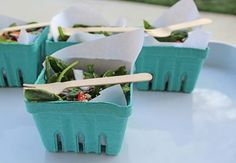 Cardboard berry boxes lined with parchment paper make disposable, eco-friendly salad bowls.