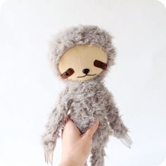 Kawaii Sloth Stuffed Animal Plushie in Gray by bijoukitty on Etsy, $48.00